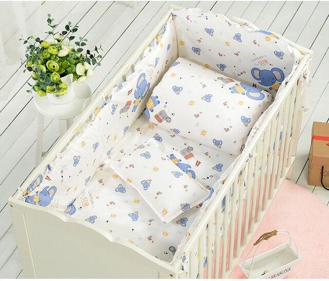 7 STÜCKE vollen Satz Neugeborenen Kinderbett Bettwäsche, 100% Baumwolle Kinderbett Bettwäsche-set Baby Bettwäsche Kissen, (4 stoßstange + blatt + bettbezug + kissen)