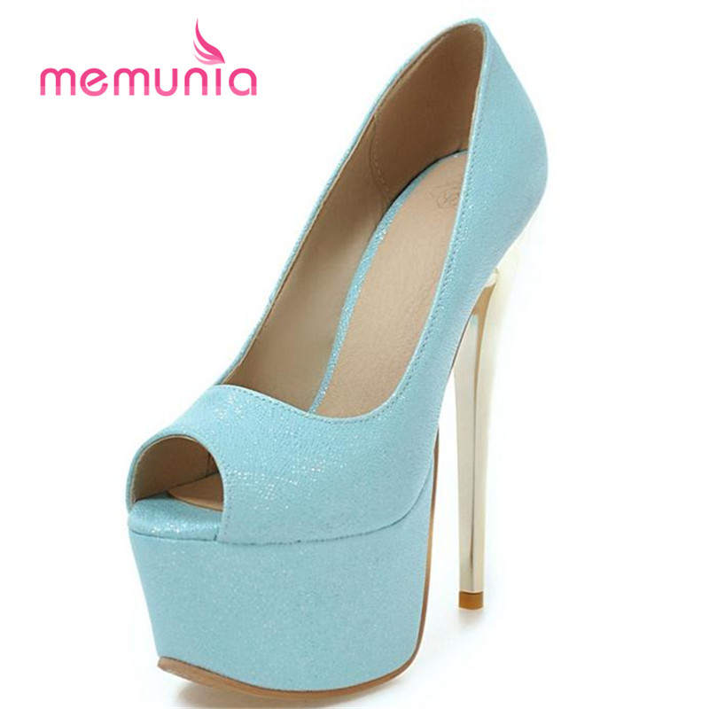 MEMUNIA 2017 New bride shoes thin high heels 16cm party shoes solid peep toe big size 34-48 women pumps spring autumn memunia platform shoes shallow solid round toe high heels shoes big size 33 44 party shoes soft leather hot sale contracted