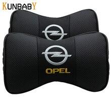 KUNBABY 2 PZ Car Styling Auto In Pelle Cuscino Del Collo Poggiatesta Neck Support Cuscino Seggiolino Auto Emblema Cuscino Per Auto Opel accessori