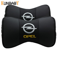 KUNBABY Leather Car Headrest Neck Support Pillow Seat Emblem Cushion For Opel Insignia Zafira Corsa Astra