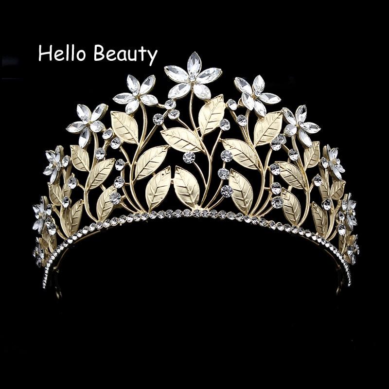 купить Gold Color Beautiful Clear Crystal Prom Tiara Flower Leaf Baroque Bridal Princess Bride Crown Wedding Hair Jewelry Accessories по цене 836.37 рублей