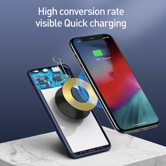 Baseus 10000mAh Qi Wireless Charger Power Bank Quick Charge 3.0 PD Powerbank For iPhone Xiaomi 10000 Portable External Battery 2