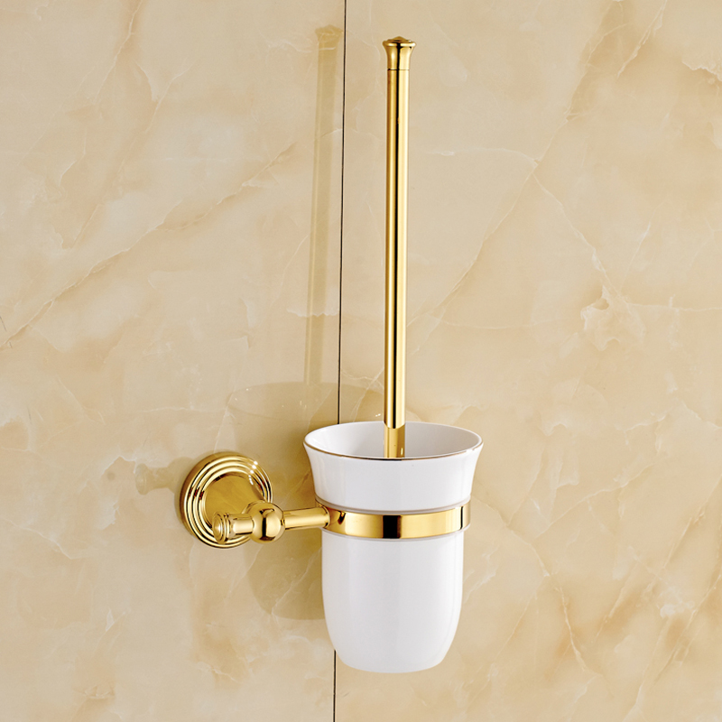 Free shipping golden bathroom accessories toliet brush - Wall mounted ceramic bathroom accessories ...