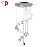 Youlaike Modern LED Chandelier Lighting Living Room Spiral Design Hanging Lustres De Cristal Long Stair Crystal