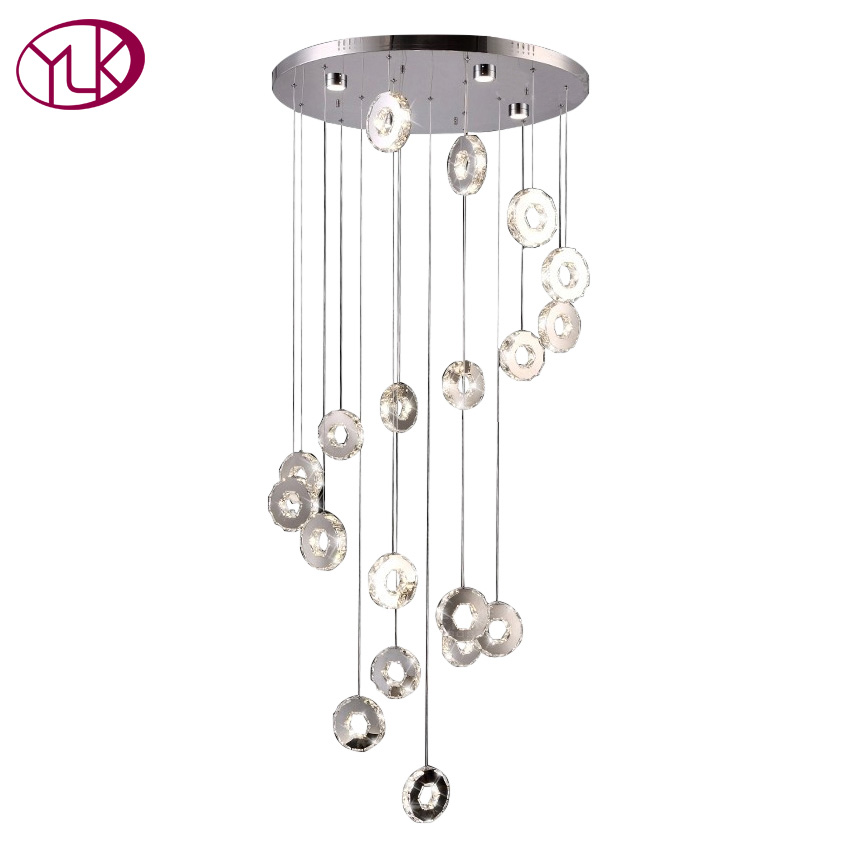 Youlaike Modern LED Chandelier Lighting Living Room Spiral Design Hanging Lustres De Cristal Long Stair Crystal Light Fixtures new modern chandelier led crystal lamps long pendant chandelier lustres de cristal kronleuchter ac110 240v stair chandelier