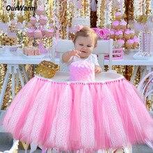 OurWarm для маленьких мальчиков и девочек стул юбка для маленьких девочек скатерть для дома детский день рождения, детский душ Причастие вечерние украшения