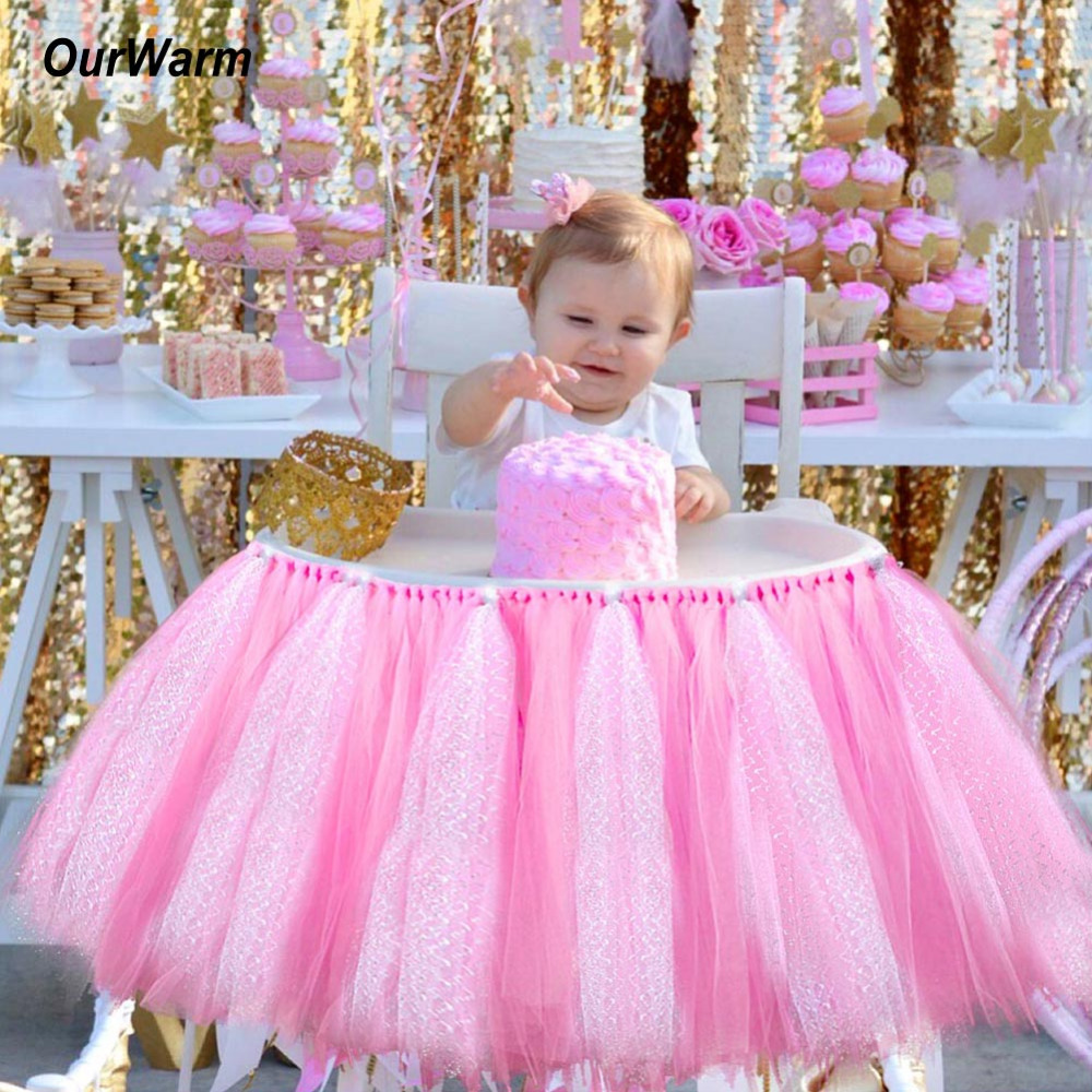 Ourwarm tutu tulle table skirts high chair decor baby for Baby shower decoration set