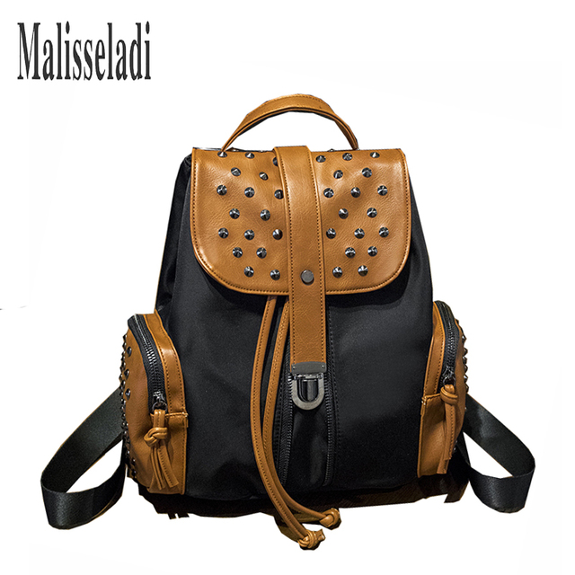 edbfdc7edd6d Fashion Women s Backpacks Rivet Travel Bag PU Nylon Female Backpack For  Women Lady School Student Teenage Girls Mochila Escolar