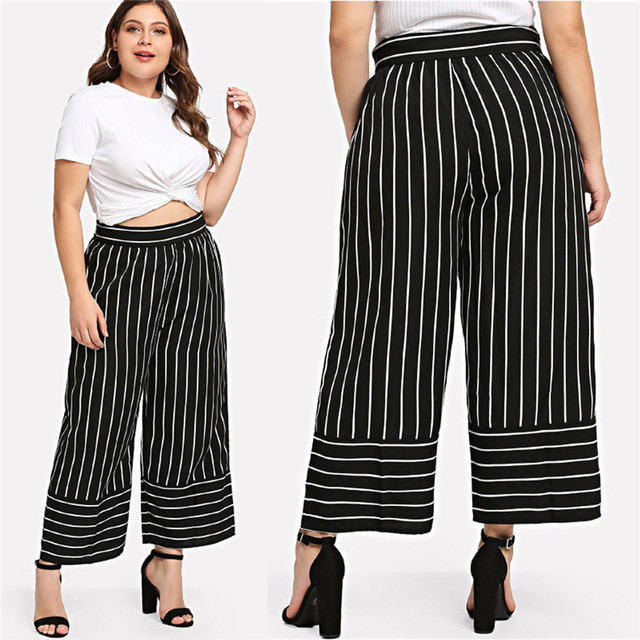 14b9c108c83f2 Plus Size Pants Women s High Waist 3 4 Wide Leg Long Pant Palazzo trouser  OL Clothes Ladies Stretch Office Pant