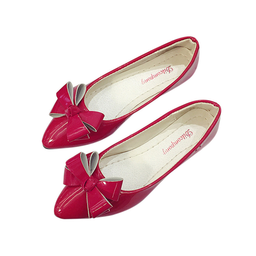 Fashion Butterfly-knot Pointed Toe Women Flats Girls Flat Shoe Spring Autumn Ballet Flats Ladies Comfy Slip-On Casual Peas shoeS odetina 2017 brand fashion women casual flat spring shoes pointed toe ballet flats bowknot slip on loafers ballerinas plus size