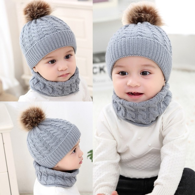 Puseky 2pcs/set Fashion Newborn Baby Hats Knitted Warm Pom Round Machine Cap Protects Ear Bonnet Baby Winter Caps + Scarf Suits 5
