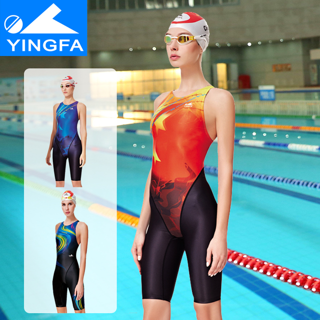 ed4e2e407f0a Yingfa 2018 new Professional Women Swimsuit One Piece Swimwear Racing  Competition Tights girls competition knee swimsuit