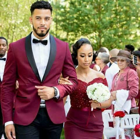 Fashion Men/'s Wine Red Groom Tuxedo Suit Dinner Casual Party Prom Suit Custom