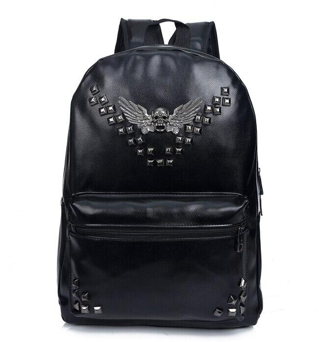 Stacy Bag Hot Sale Good Quality Women Men Leather Backpack Female Male Cool Punk Rivet Skull Travel Backpack Student School Bag