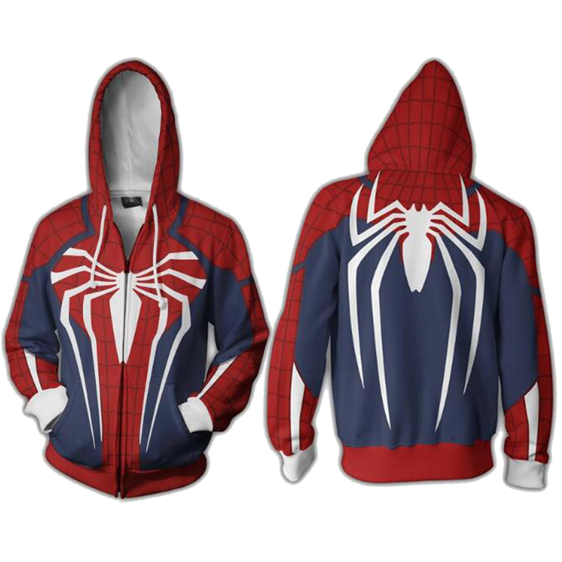 2018 New Spider-man PS4 Hoodie Cosplay 3D Print Long Sleeve Jackets Full Zip Cool Pullover Coat  Unisex Jumper Sweatshirts