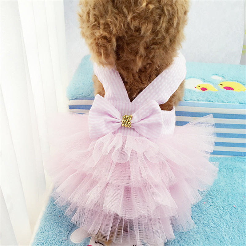 2019 Pet Clothes Sweet Bowknot Small Dog Skirt Girl Tutu Clothing Puppy Cat Sleeveless Apparel Teddy Clothes Harness AprT3 (9)