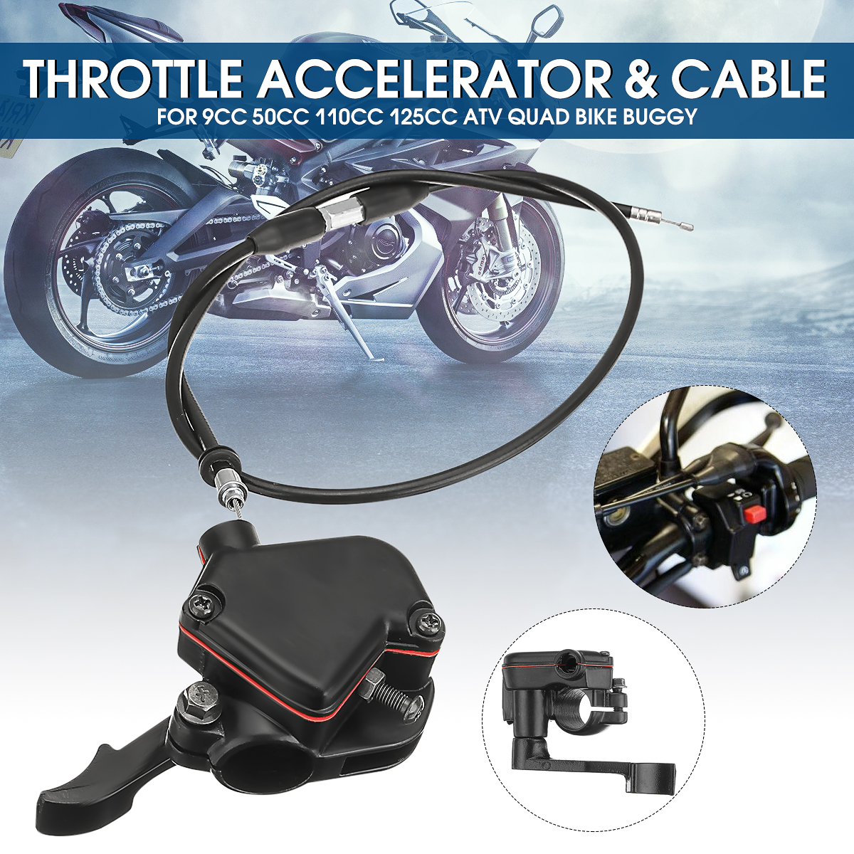 High Quality Motorcycle Thumb Throttle With Accelerator Cable For 50-150cc 110cc Mini Moto Quad 4 Stroke Atv Pit Bike Black Sales Of Quality Assurance Atv,rv,boat & Other Vehicle