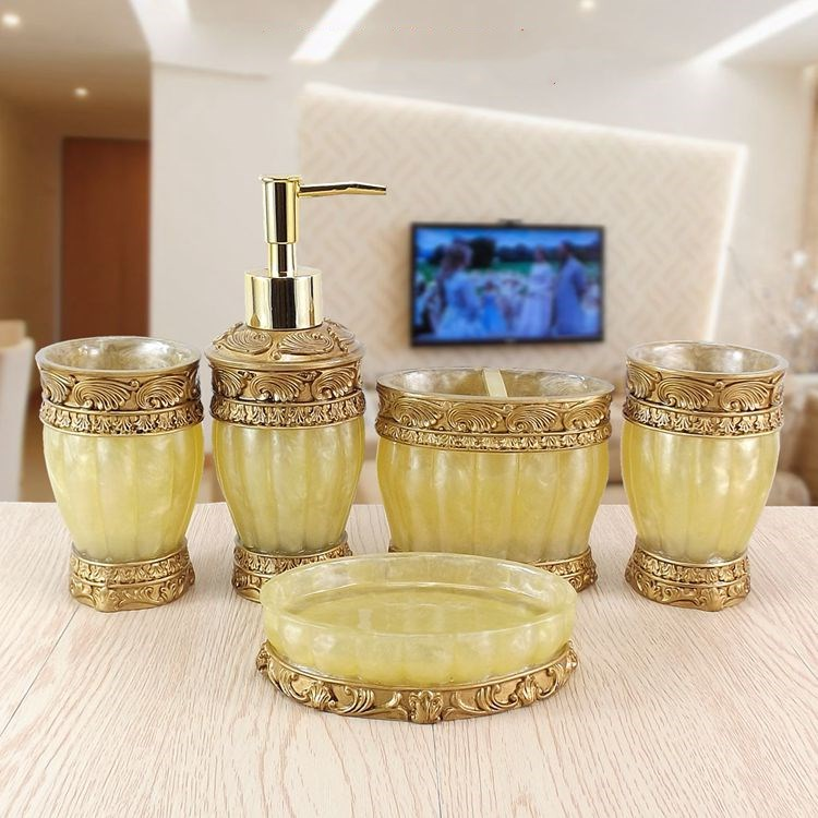 Resin Bathroom Accessories Sets Dispensers Dishes Toothpaste Holders Bathroom Tumblers Bathroom Products Household Merchandises