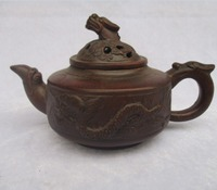 Chinese Handmade Dragon Tea Pot Collectible Old Purple Clay Teapot