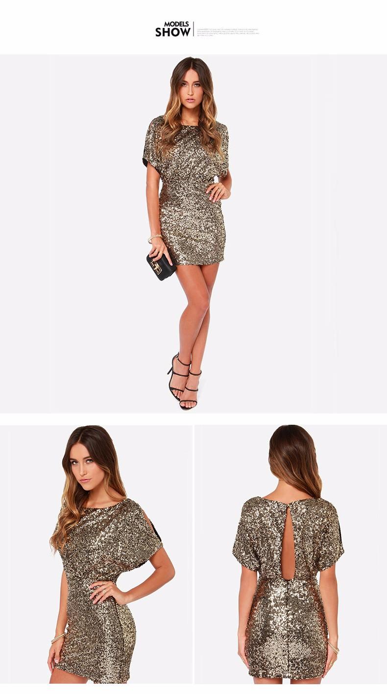 Metallic Sequined Women Slit Backless Dress