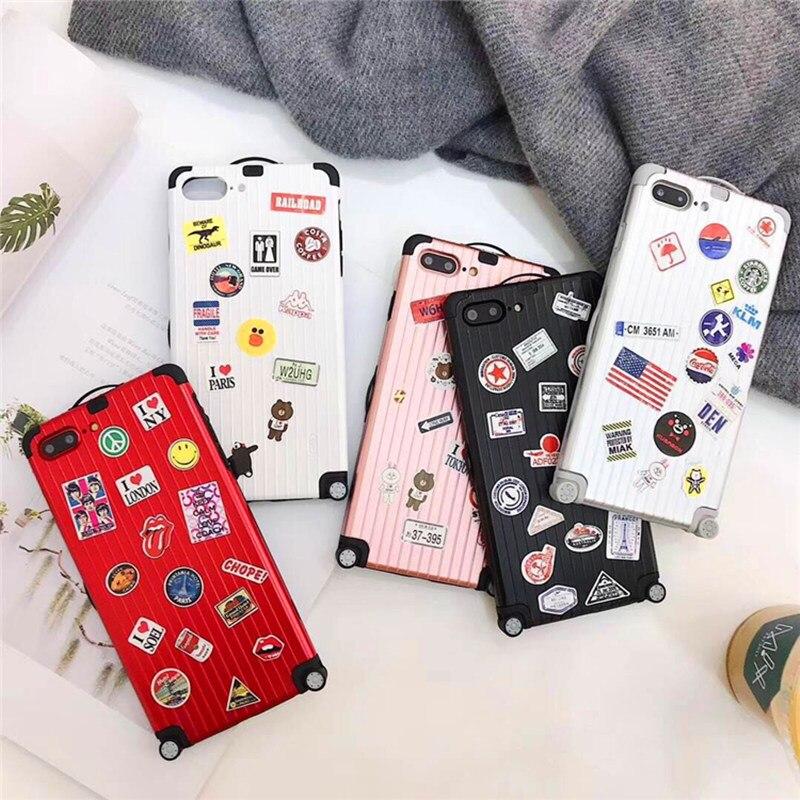 Monsieur. orange Haute Qualité Bagages Téléphone Cas Pour iphone X 6 6 splus 7 8 plus De Luxe Valise BRICOLAGE lovers Couverture Cas Métal Soft Shell