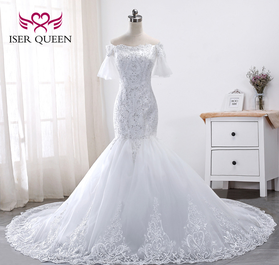 Mermaid Wedding African 2020 New Quality Lace Appliques Dresses Flare Sleeve Lace Up Beautiful Embroidery Wedding Dress WX0013