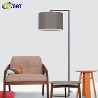 FUMAT Fabric Shade Floor Lamp Modern Living Room Floor Lamp Study Bedroom Bedside Light White Black Grey Fishing Standing Lamp