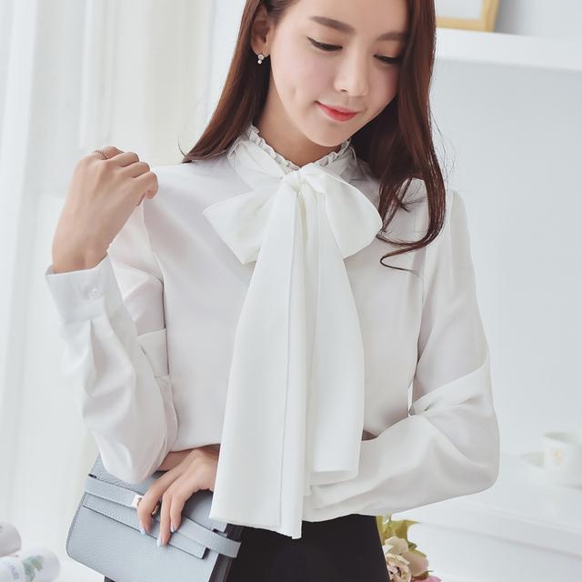 2017 primavera verão Bow tie blusas mulheres long-sleeved camisa moda selvagem era magro camisa feminina roupas baratas china