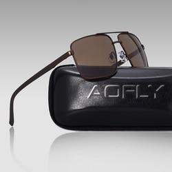 AOFLY DESIGN Original Brand Men Polarized Sunglasses Metal Square TR90 temple Classic Men Shades Sun glasses UV400 With Case