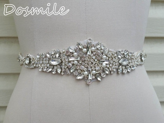 2016 New Handmade crystal pearl bridal belt magnificent rhinestone white belt for bride wedding dress belt accessories
