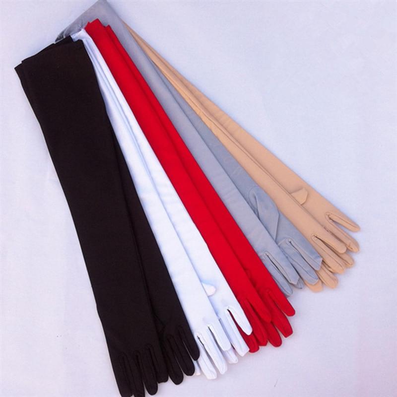 1Pair Khaki Long Solid Women Sunscreen Gloves Summer Autumn Elastic Thin Spandex Anti-UV Driving Satin Gloves Opera Glove 53cm
