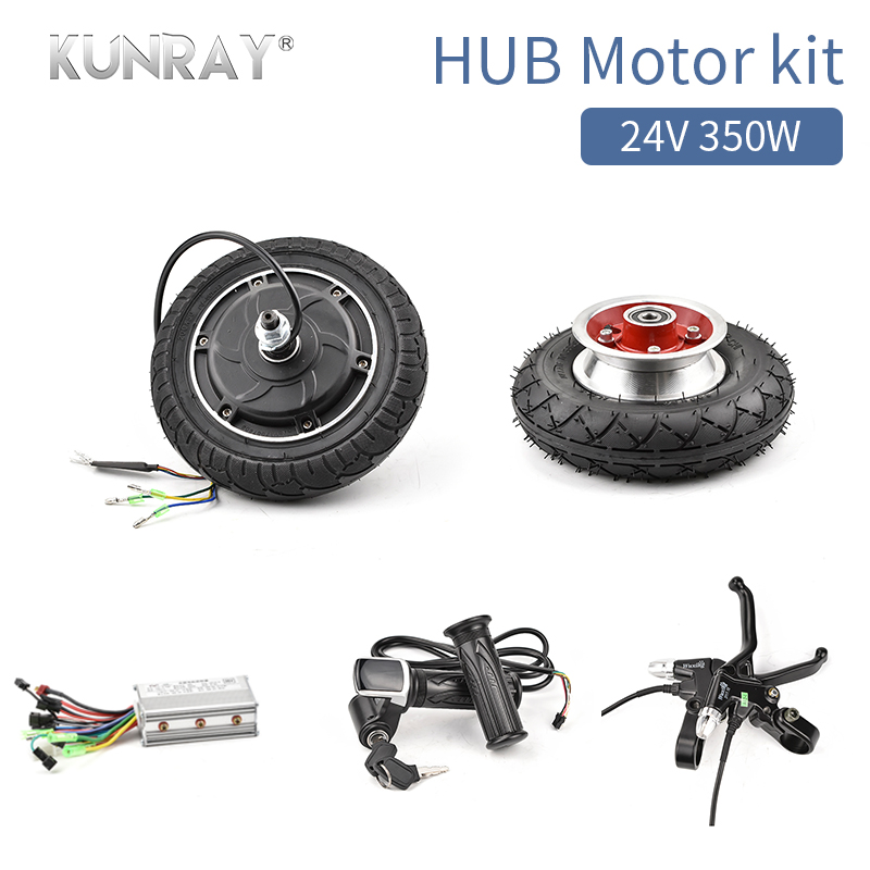 24V350W Brushless Electric Scooter Hub Motor Wheel Kit With 8inch Front Wheel Tire Controller E-Brake LCD Throttle For Ebike 2017 new 4 wheels electric skateboard scooter 600w with bluetooth remote controller replaceable dual hub motor 30km h for adults