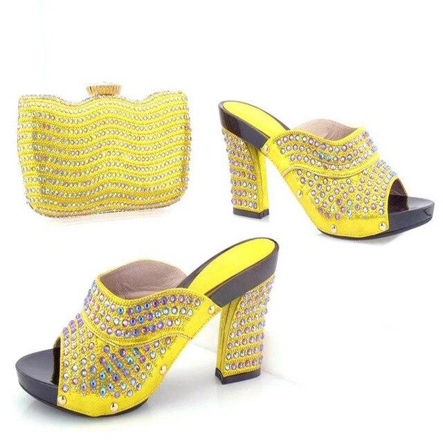 TYS17 94 Yellow High Quality Rhinestone Wedding Heels Shoes Matching Bag Latest African Woman