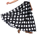 2016 New Fashion Long Skirt Women Polka Dot Print Black White High Waist Pleat Summer Chiffon Vintage Ladies Skirts Faldas Saia