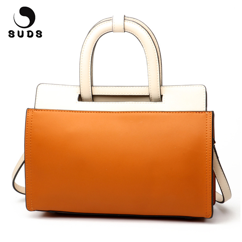 SUDS Brand Genuine Leather Women Bag Designer Handbags High Quality Female Large Capacity Panelled Cow Leather Crossbody Bags suds brand women casual 100% genuine leather handbag female designer high quality totes messenger bag cow leather small tote bag