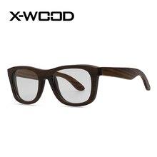 X-WOOD New Fashion Classical Bamboo Frame Black Walnut Wood Frame Flat mirror Glasses  Men Women High Quality Wooden Glass