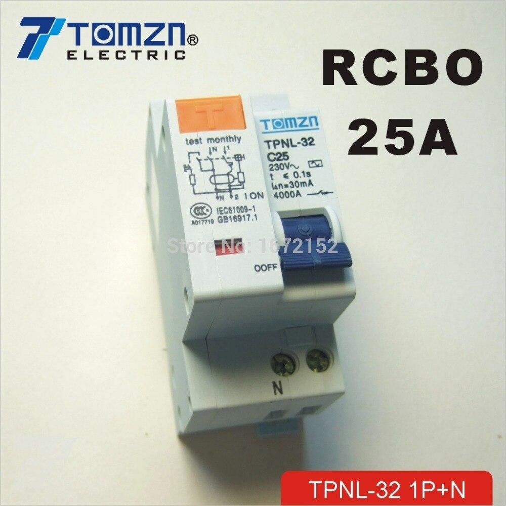 DISJONCTEUR DPNL 1 P + N 25A 230 V ~ 50 HZ/60 HZ courant Résiduel Circuit avec plus courant et les Fuites protection DD