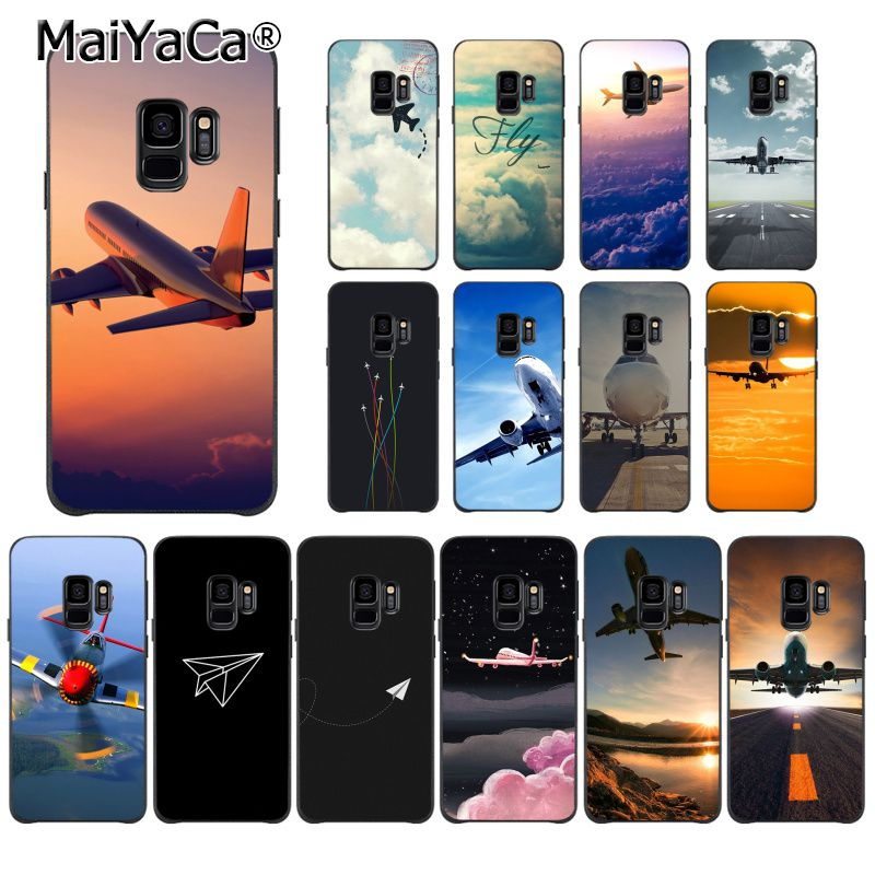 US $0 76 62% OFF|MaiYaCa Aircraft Airplane fly travel cloud Plane Phone  Case for Samsung Galaxy S9 plus S7 edge S6 edge plus S5 S8 plus case-in  Fitted