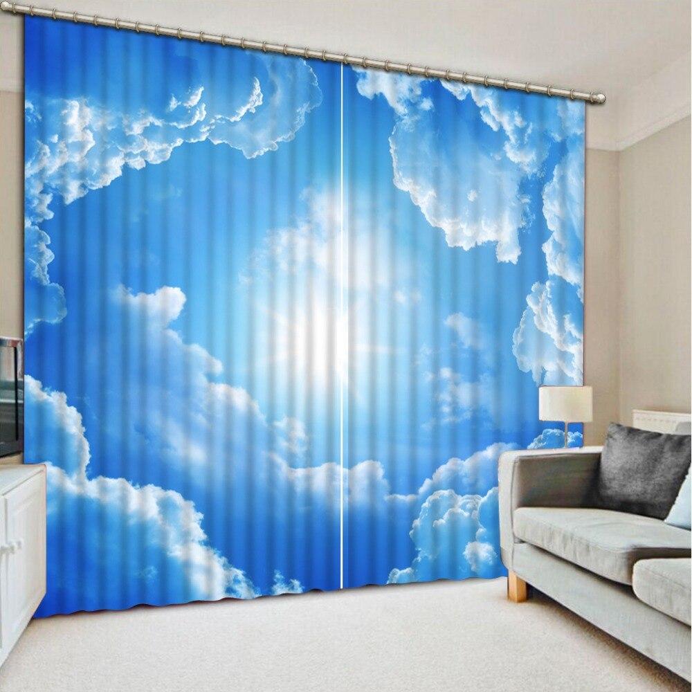 Brilhante céu azul Cortina da janela Cortinas Da Janela do quarto 3D Para O quarto de Cama Fábrica diret venda