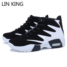 LIN KING Fashion Men Casual Shoes Mixcolor Lace Up Wedges Shoes Height Increase