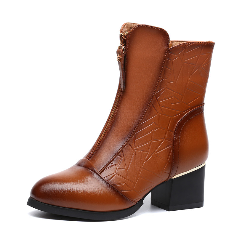 2017 New Vintage Mid-calf Women Boots Square Thick High Heels Pointed Toe Martin Boots Genuine Leather Winter Shoes for Women genuine leather square toe mid calf boots autumn winter boots warm shoes woman thick high heels shoes for women boots
