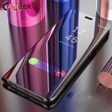 CASEIER Mirror Case for Samsung Galaxy S10 lite S9 A8 A6 plus Flip Phone A9 J4 J6 2018 Holder Stand Funda