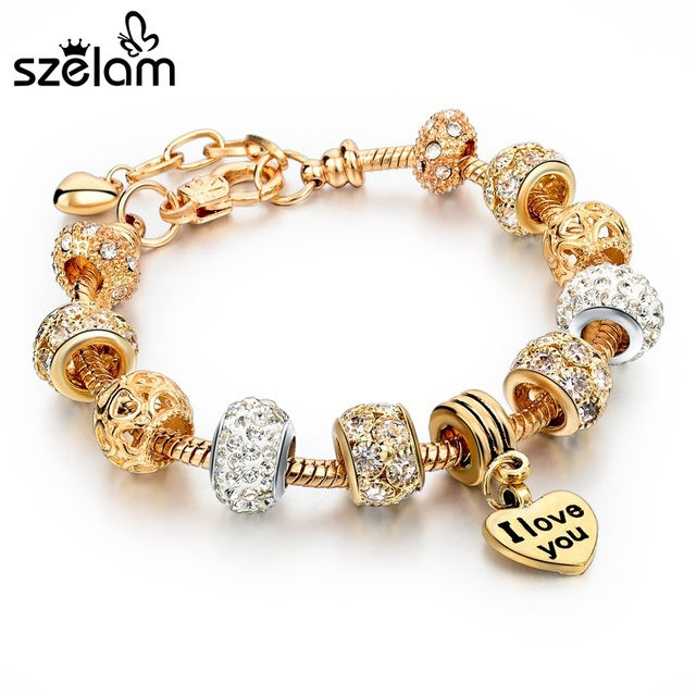 Szelam Luxury Crystal Heart Charm Bracelets & Bangles Gold Bracelets For Women Jewellery Pulseira Feminina Sbr160056 4