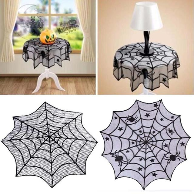 Halloween Spider Web Tablecloth Fireplace Table Decor Topper Covers Party  Dinner Supplies