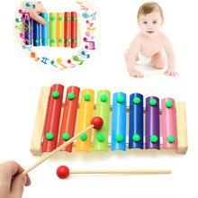 الأدوات الموسيقية الملونة للأطفال لعبة إطار خشبي إكسيليفون الطفل التعليمية التنموية ألعاب خشبية هدايا GYH