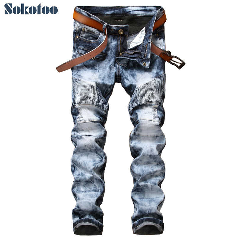 Sokotoo Mens snow wash blue denim biker jeans for motorcycle Casual slim straight tie dye long pants