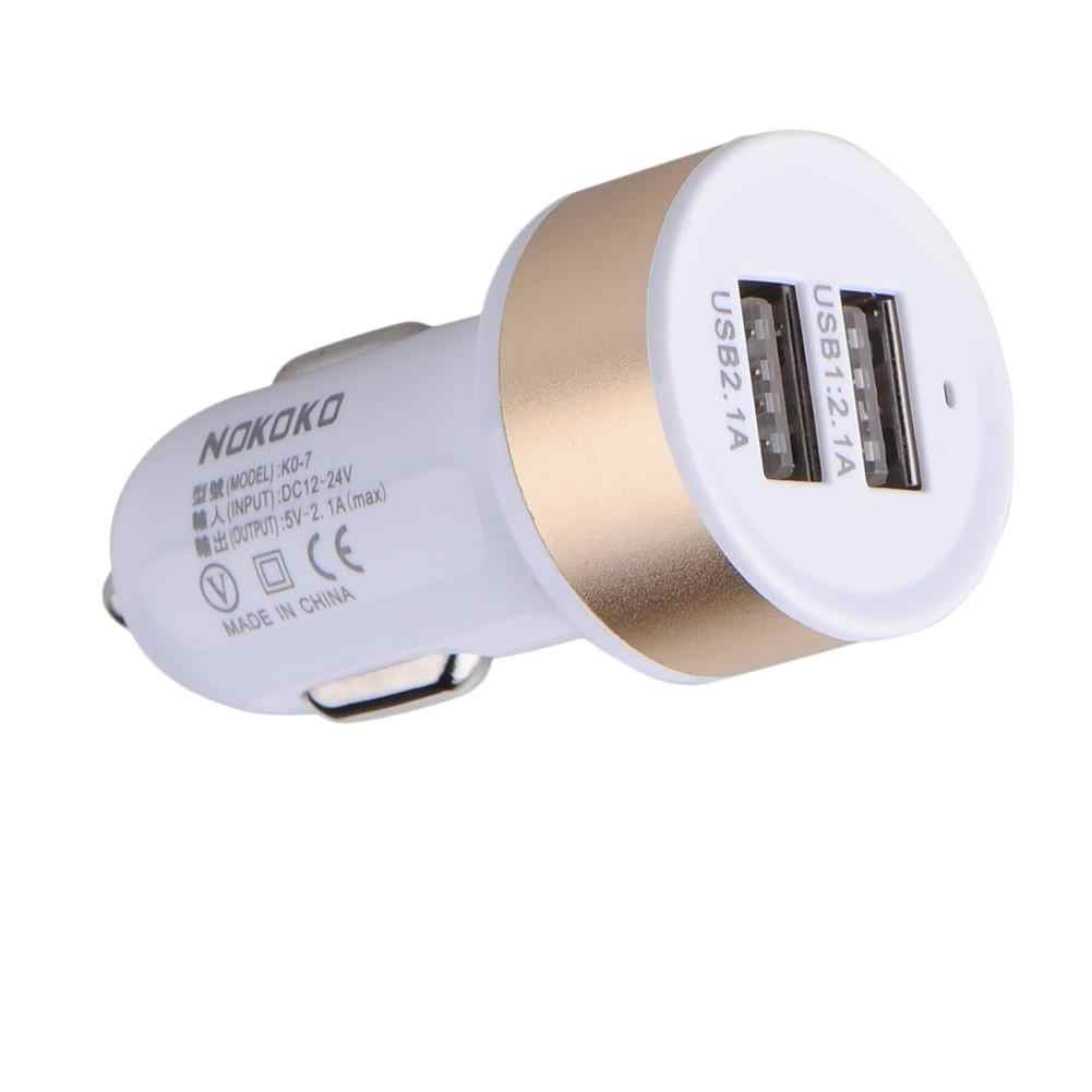 Car Charger Metal Round Head DC 12 V Input 5V 2.1A/1A Output Dual USB Car Battery Charger For Iphone Samsung For Xiaomi Huawei