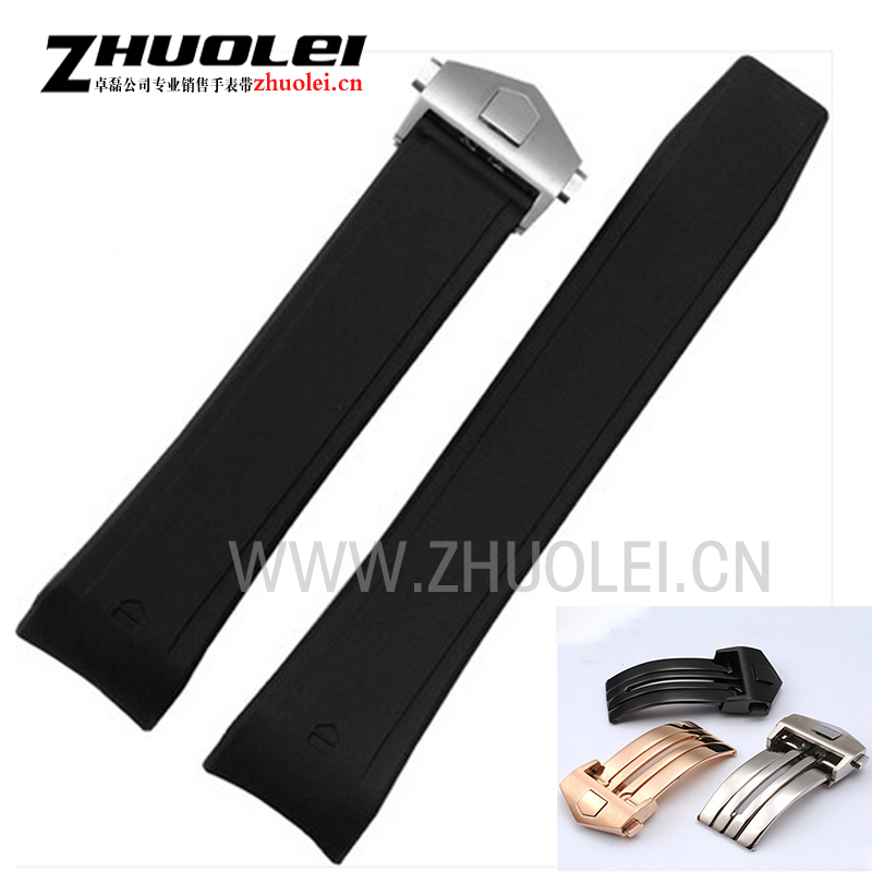 HOT 22mm New Top grade Black Diving Silicone Rubber Watch Band Strap with stainless steel rose gold buckle fit T- G -H watches цена