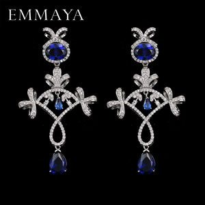 EMMAYA Fashion Luxurious Unique Micro Paved Blue Purple CZ Crystal Drop Earrings for Women Charming Wedding Jewelry
