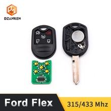Dzanken 5 ปุ่มรีโมทกุญแจรถ 315/433MHz สำหรับ Ford Flex Explorer Taurus 2012 2017 & Transponder chip และ Uncut Blade